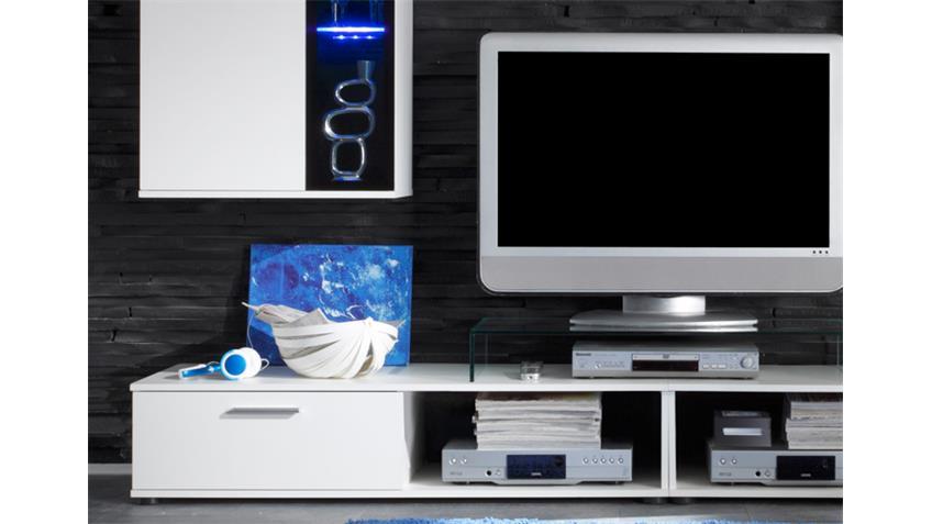 Wohnwand SALSA 2 in weiß Vitrinen mit Beleuchtung