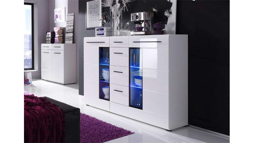 highboard skin wei hochglanz mit led beleuchtung. Black Bedroom Furniture Sets. Home Design Ideas