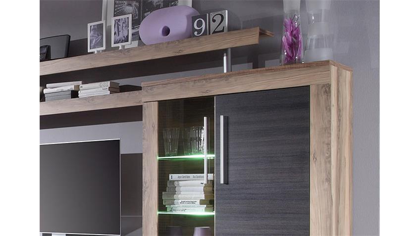Wohnwand BOOM Nussbaum Satin braun Touchwood mit LED