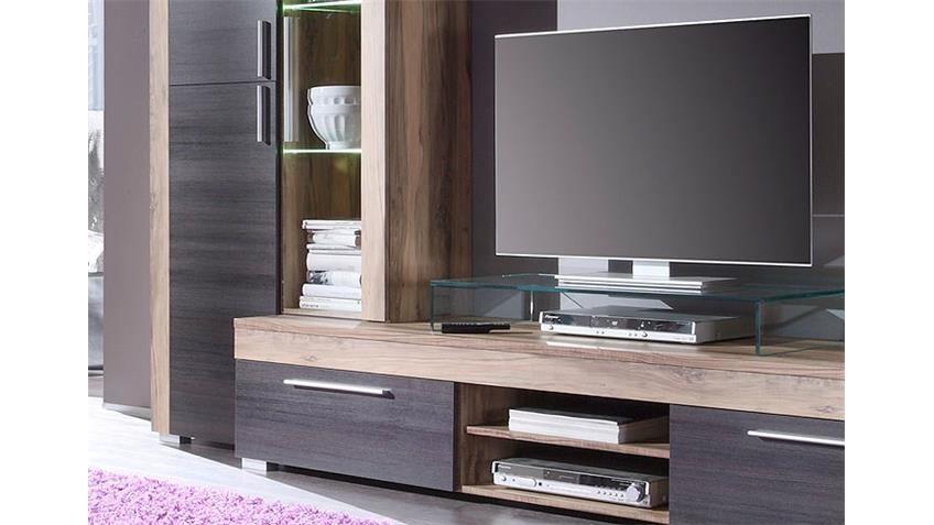 wohnwand boom nussbaum satin braun touchwood mit led. Black Bedroom Furniture Sets. Home Design Ideas
