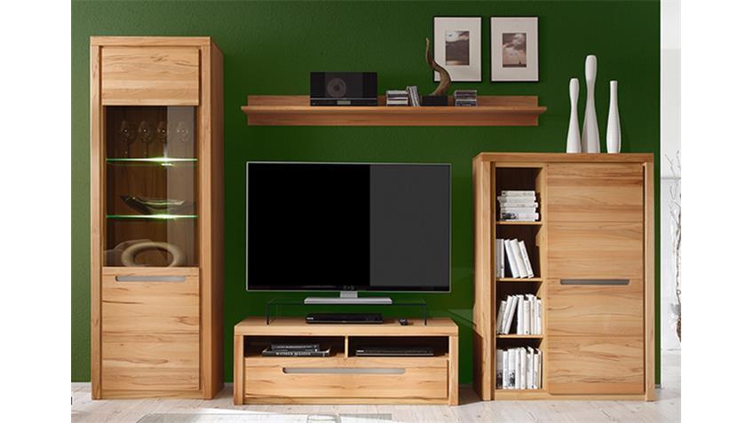 wohnwand zino kern buche massiv lamellen inkl beleuchtung. Black Bedroom Furniture Sets. Home Design Ideas