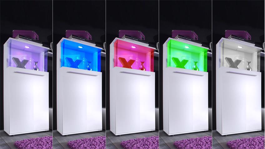 Wohnwand Punch Vitrinen mit RGB Beleuchtung Front weiß glänzend