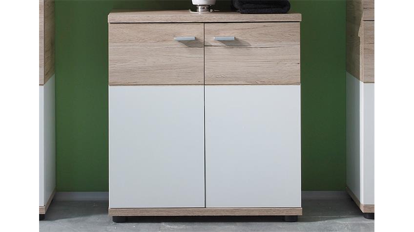 Waschbeckenunterschrank CAMPUS San Remo Eiche und Weiß