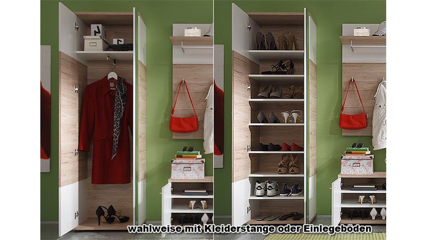 Garderobenschrank CAMPUS San Remo Eiche und Weiß