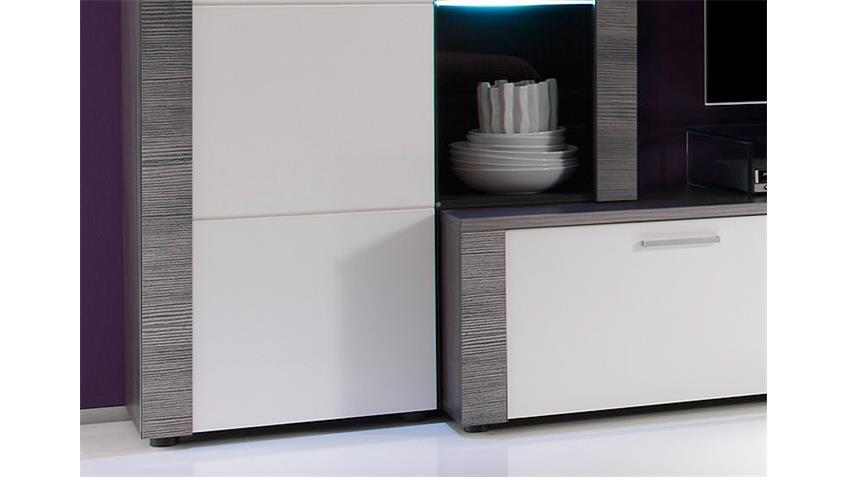 Wohnwand XPRESS Esche grau weiß 4-teilig inkl. LED Beleuchtung