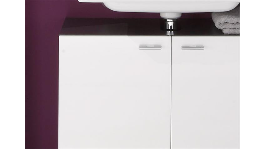 Waschbeckenunterschrank TETIS Graphit und Weiß Hochglanz