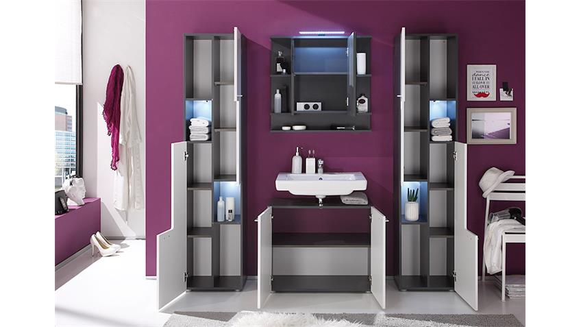 badezimmer set tetis graphit und wei hochglanz 4 tlg. Black Bedroom Furniture Sets. Home Design Ideas