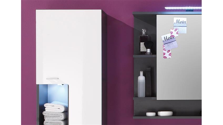 Badezimmer Set TETIS Graphit und Weiß Hochglanz 4 tlg