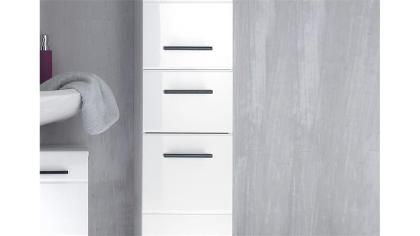 Badschrank Hochschrank 101 SKIN Front weiß hochglanz