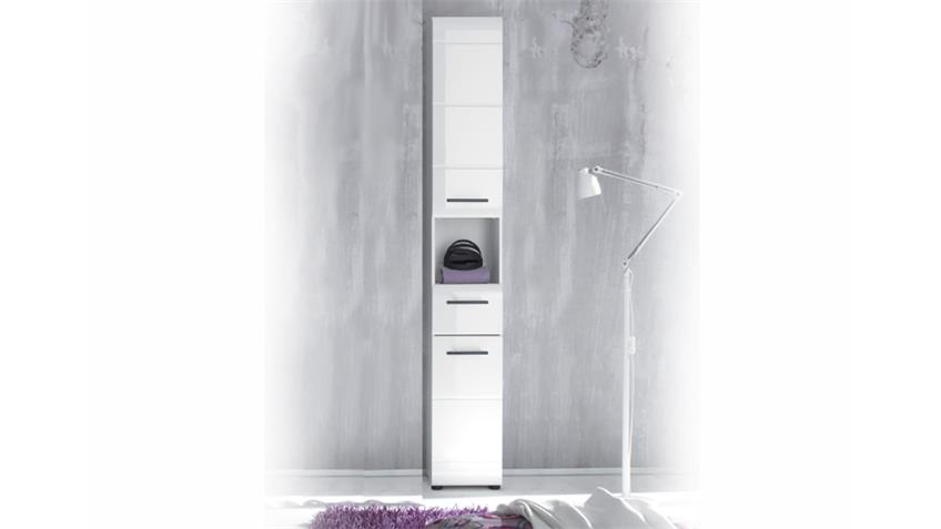 Badschrank Hochschrank 103 SKIN Front weiß hochglanz