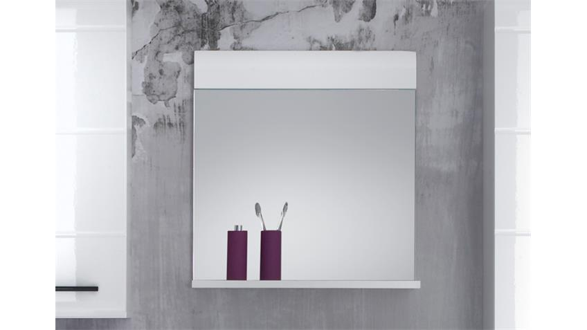 Bad Spiegel mit Ablage SKIN Front weiß Hochglanz