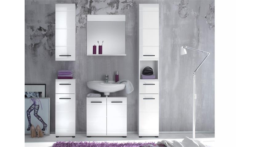 Badezimmer SKIN Badmöbel Set 2 Front weiß Hochglanz 5-teilig