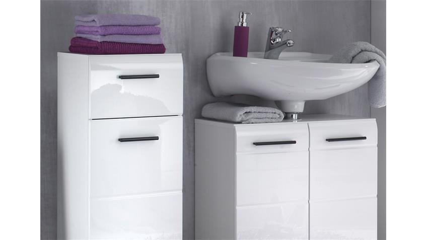 Badezimmer SKIN Badmöbel Set 3 Front weiß Hochglanz 5-teilig