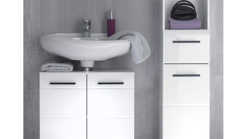 Badezimmer SKIN Badmöbel Set 4 Front weiß Hochglanz 3-teilig