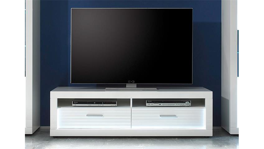 TV Board 1 STARLIGHT weiß Hochglanz Rillenoptik inkl. LED