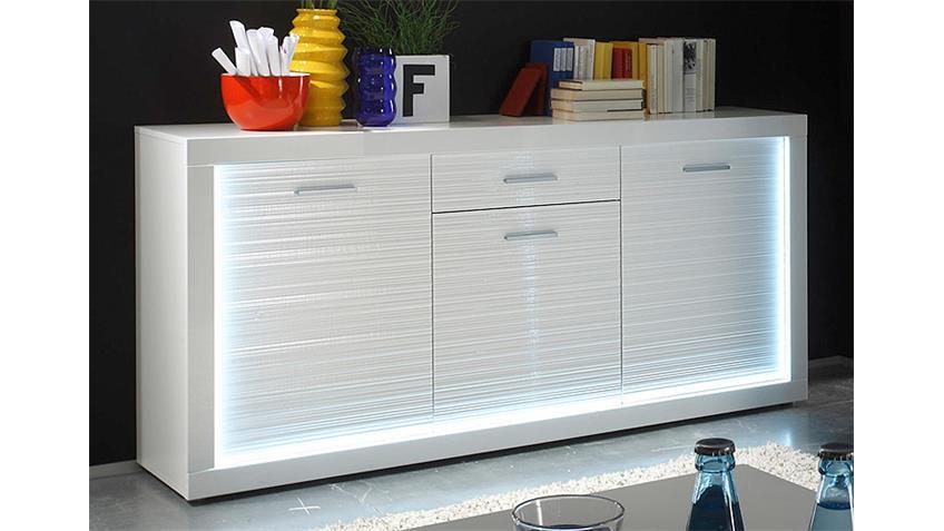 Sideboard STARLIGHT weiß Hochglanz Rillenoptik inkl. LED