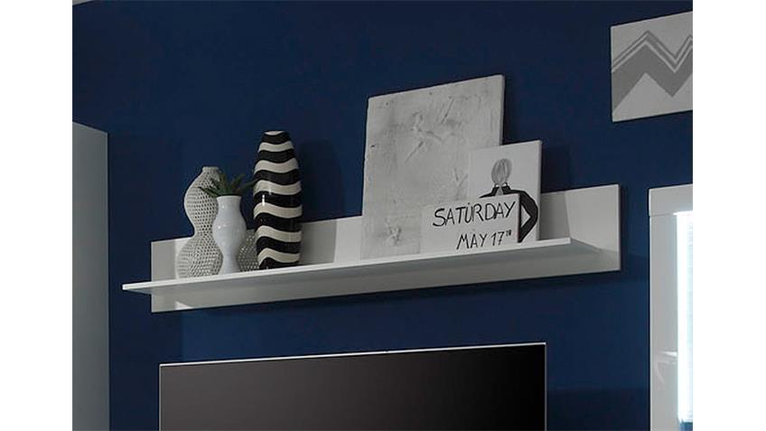 Wandboard 1 STARLIGHT in weiß mit 1 Holzboden 150 cm