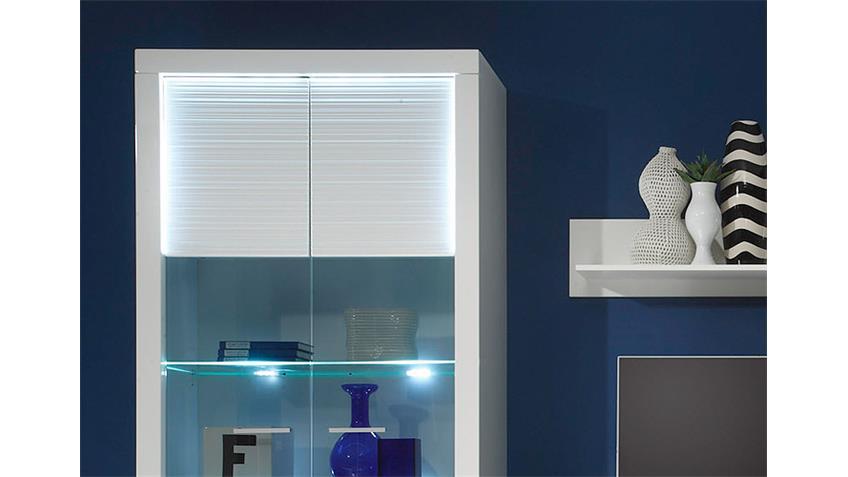 Wohnwand 1 STARLIGHT weiß Hochglanz Rillenoptik inkl. LED