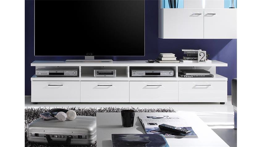 TV-Unterteil NIGHTLIFE in Weiß Hochglanz B 200 cm