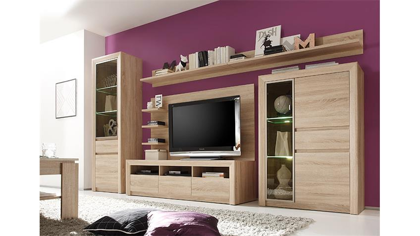 wohnwand ralva 2 sonoma eiche hell glas bronze inkl led. Black Bedroom Furniture Sets. Home Design Ideas