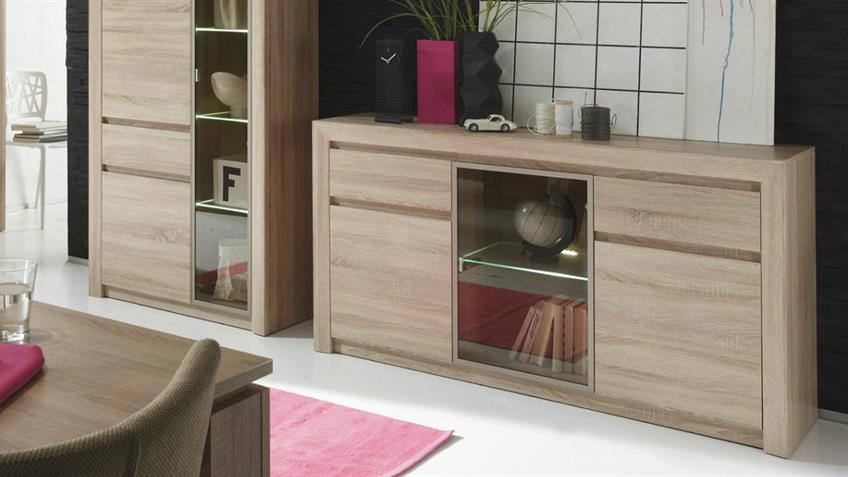 sideboard ralva sonoma eiche hell glas bronze inkl led. Black Bedroom Furniture Sets. Home Design Ideas