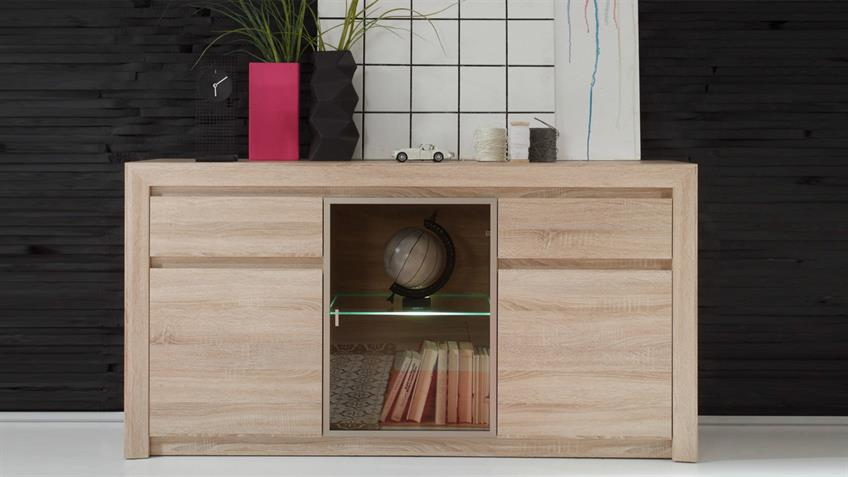 Sideboard RALVA Sonoma Eiche hell Glas bronze inkl. LED