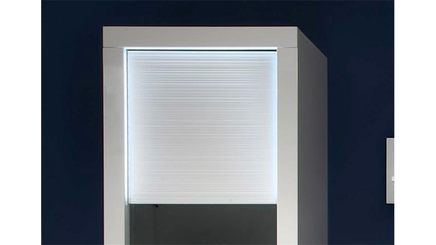 Vitrine 3 STARLIGHT weiß Hochglanz Rillenoptik inkl. LED