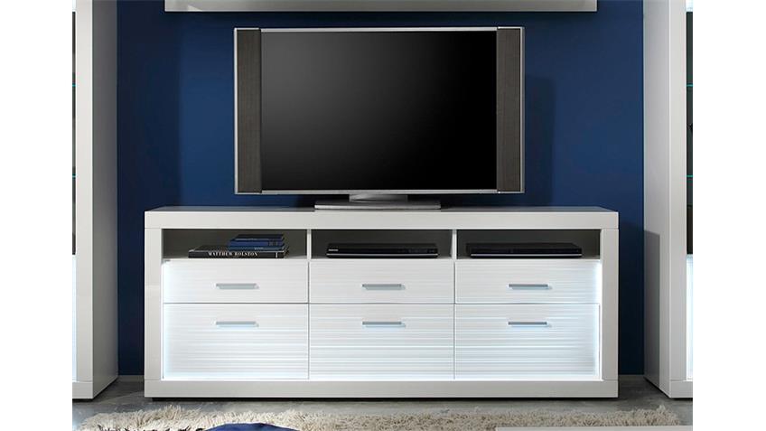 TV Board 2 STARLIGHT weiß Hochglanz Rillenoptik inkl. LED
