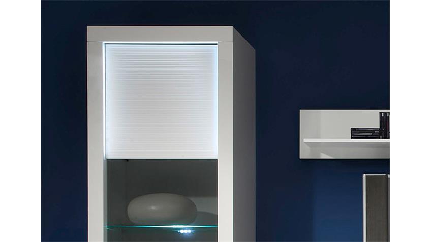 Wohnwand 2 STARLIGHT weiß Hochglanz Rillenoptik inkl. LED