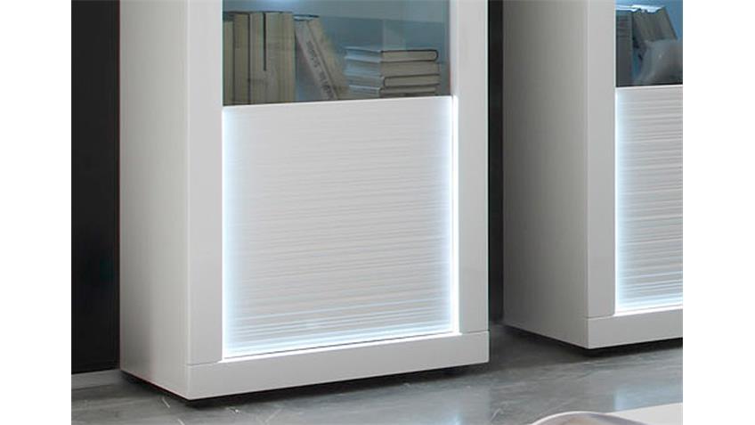 Wohnwand 3 STARLIGHT weiß Hochglanz Rillenoptik inkl. LED