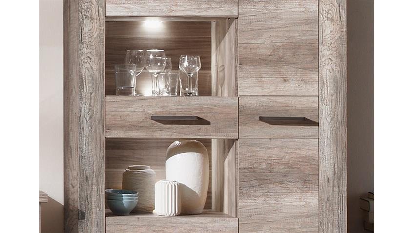 Highboard MONTREAL Standvitrine in Canyon Monument Oak