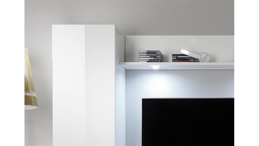 Wohnwand 1 DOS Anbauwand Wohnkombi in weiß Hochglanz