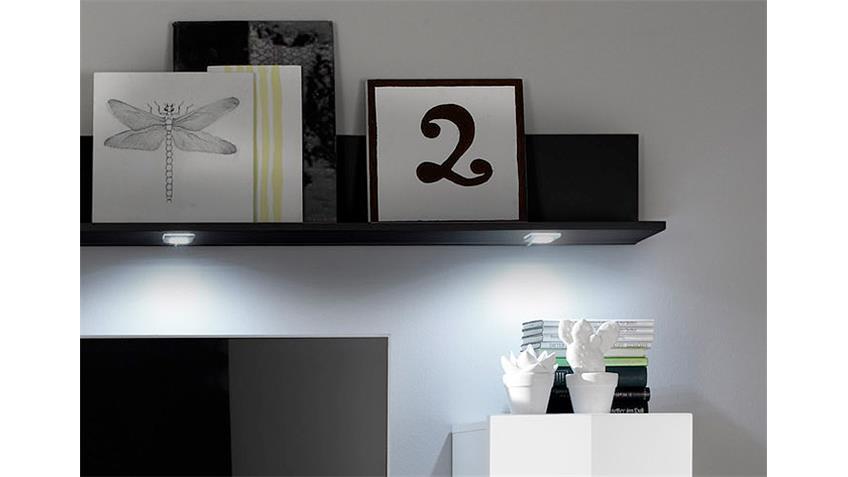Wohnwand 2 DOS Anbauwand Wohnkombi weiß schwarz Hochglanz