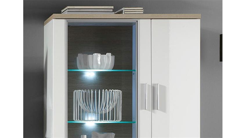 Highboard 1 ARENA weiß Hochglanz Eiche sägerau inkl. LED