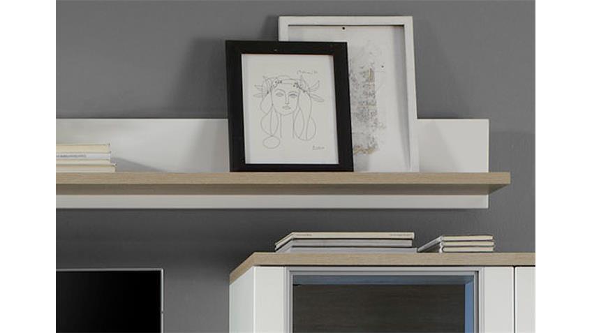 Wandboard ARENA in weiß und Eiche sägerau hell 180 cm