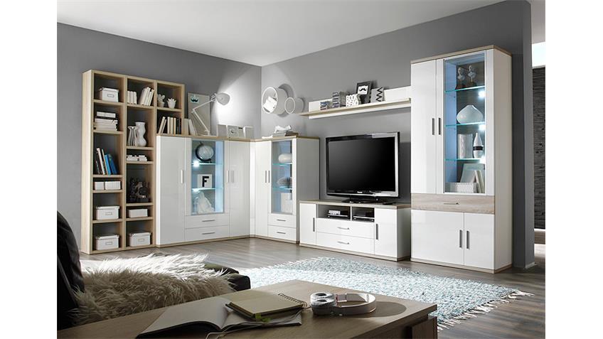 Wohnwand 3 ARENA weiß Hochglanz Eiche sägerau inkl. LED
