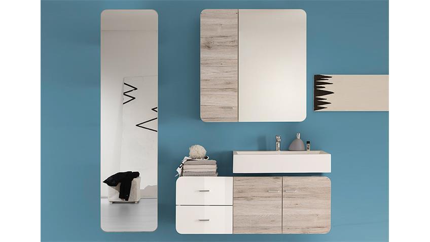 Spiegelschrank RETRO Bad in Eiche Sand und weiß 84 cm