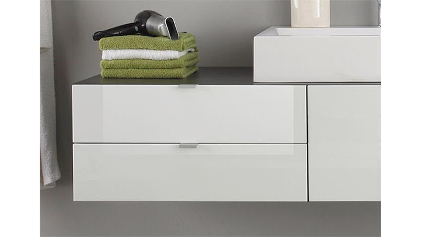 unterschrank beach badm bel wei hochglanz grau mit becken. Black Bedroom Furniture Sets. Home Design Ideas