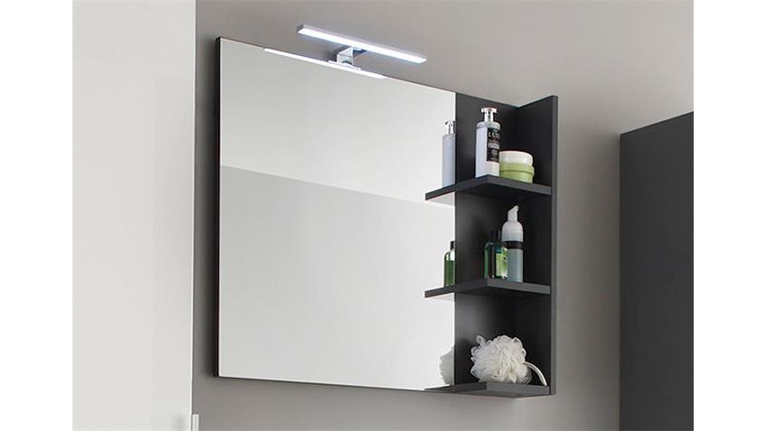 Wandspiegel BEACH Spiegel Badmöbel grau mit Ablage