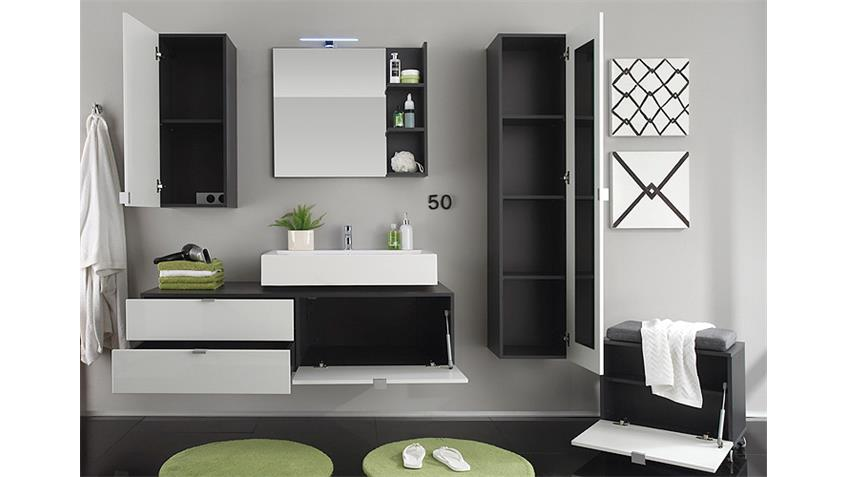 wandspiegel beach spiegel badm bel grau mit ablage. Black Bedroom Furniture Sets. Home Design Ideas