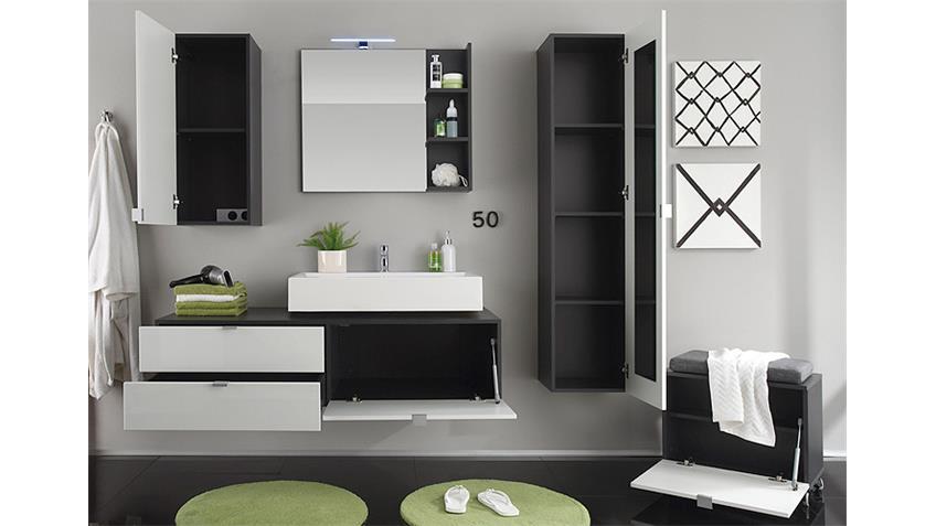 badezimmer set beach wei hochglanz grau mit waschbecken. Black Bedroom Furniture Sets. Home Design Ideas