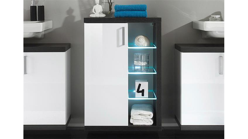 schrank sunrise sardegna rauchsilber wei hochglanz. Black Bedroom Furniture Sets. Home Design Ideas