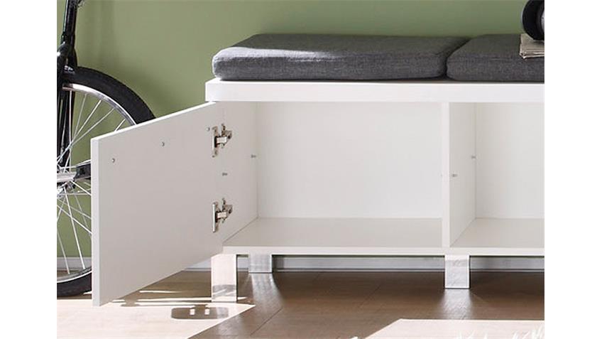 Sitzbank DERBY Garderobe in weiß Hochglanz Tiefzieh