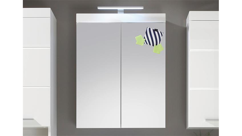 Spiegelschrank AMANDA Badezimmer weiß Hochglanz Tiefzieh