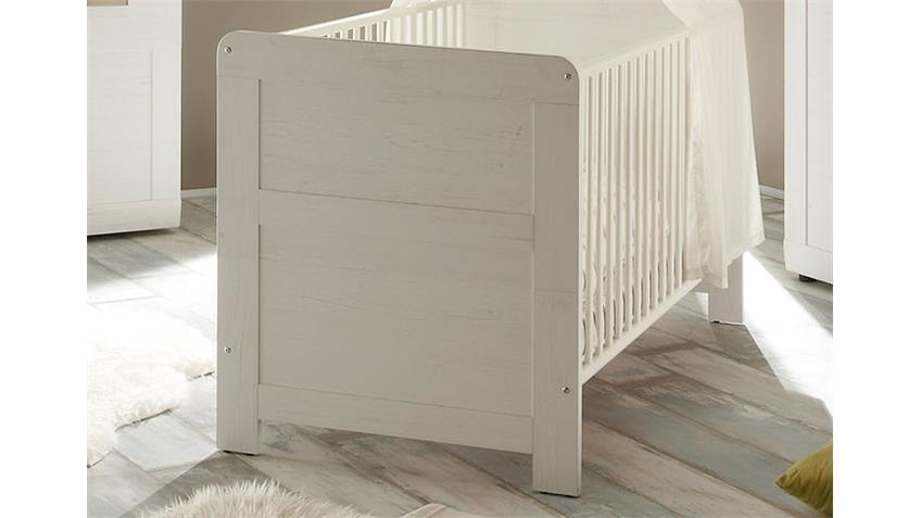 Babybett LANDI in Pinie Struktur weiß 70x140 cm