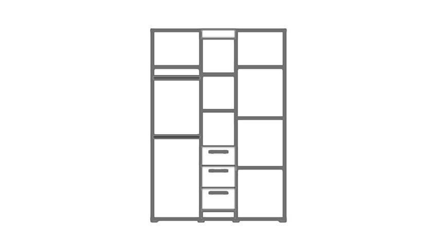 Kleiderschrank LANDI in Pinie Struktur weiß 2 türig