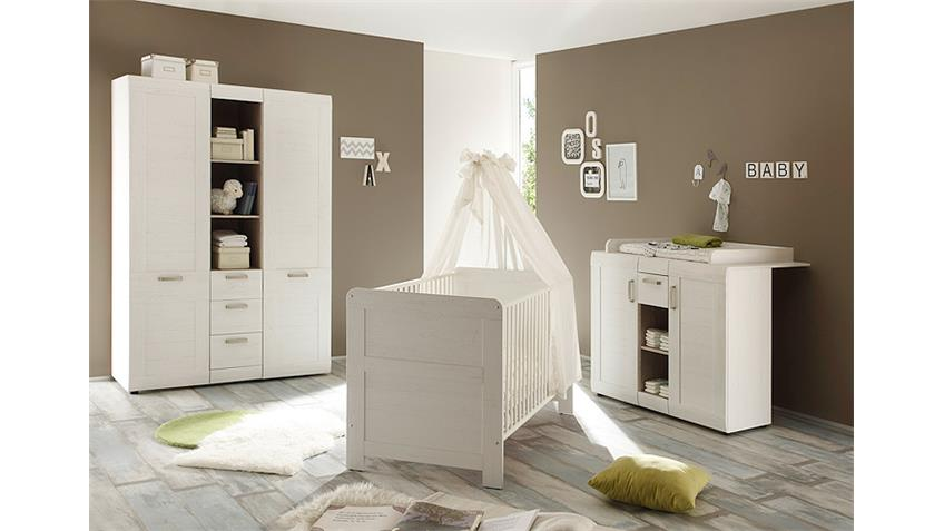 babyzimmer set landi in pinie struktur wei 3 teilig. Black Bedroom Furniture Sets. Home Design Ideas