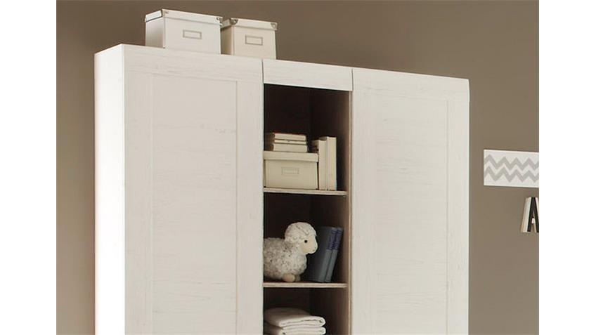 Babyzimmer Set LANDI in Pinie Struktur weiß 3 teilig