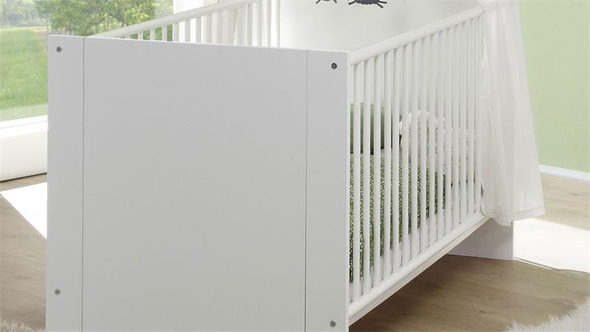Babybett OLIVIA in weiß mit Schlupfsprossen 70x140 cm