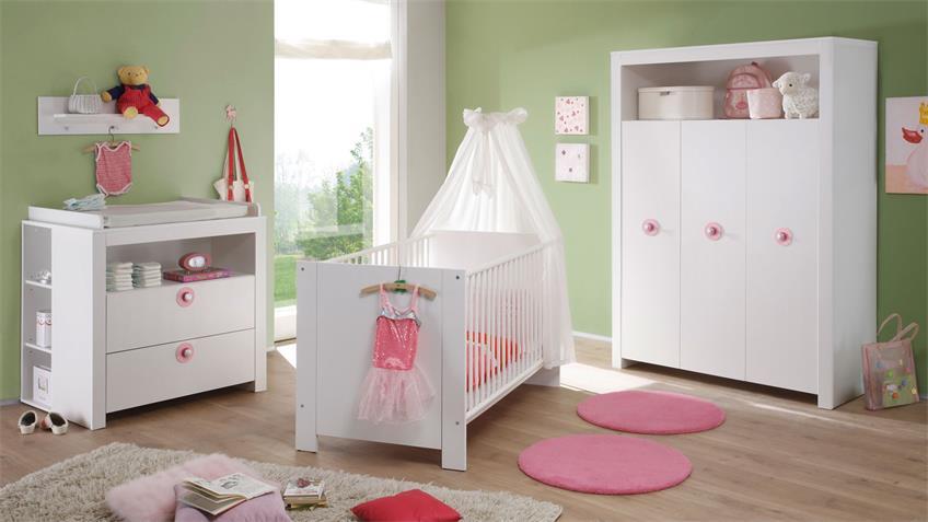 Kleiderschrank Babyzimmer Olivia Schrank in weiß 3 türig 130 cm